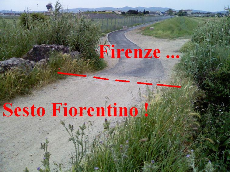 La pista ciclabile si ferma al confine con il comune di Sesto Fiorentino